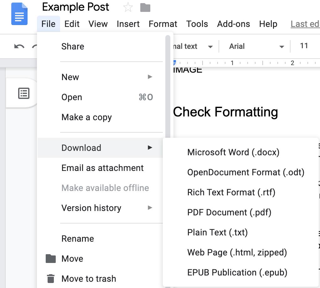 Screenshot of file menu in Google docs